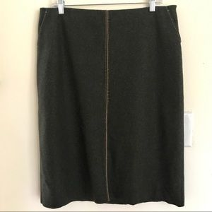 J Crew Felted Wool Pencil Skirt Forest Green Sz 12